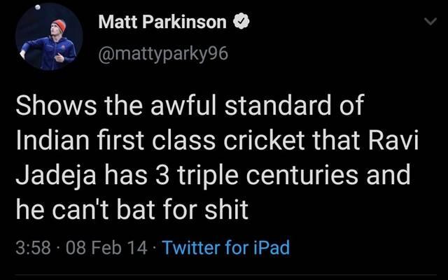 Matt Parkinson's Tweet