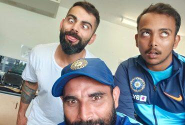 Virat Kohli, Mohammed Shami and Prithvi Shaw