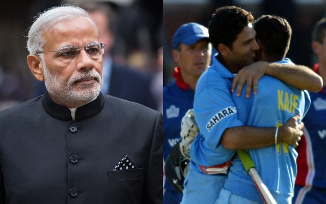 Narendra Modi, Yuvraj Singh and Mohammad Kaif