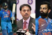 Rohit Sharma, MSK Prasad and Virat Kohli