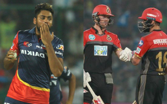 Avesh Khan, Virat Kohli and AB de Villiers