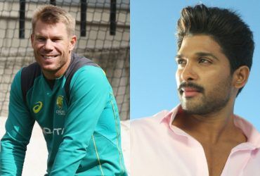 David Warner and Allu Arjun