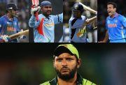 Gautam Gambhir, Virender Sehwag, Sachin Tendulkar, Irfan Pathan and Shahid Afridi