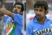 Gautam Gambhir bowling