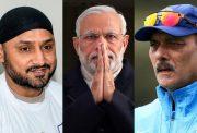 Harbhajan Singh, Narendra Modi and Ravi Shastri