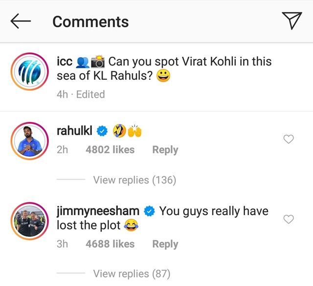 James Neesham and KL Rahul's reply in that ICC post