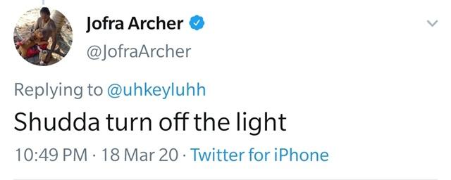 Jofra Archer's tweet