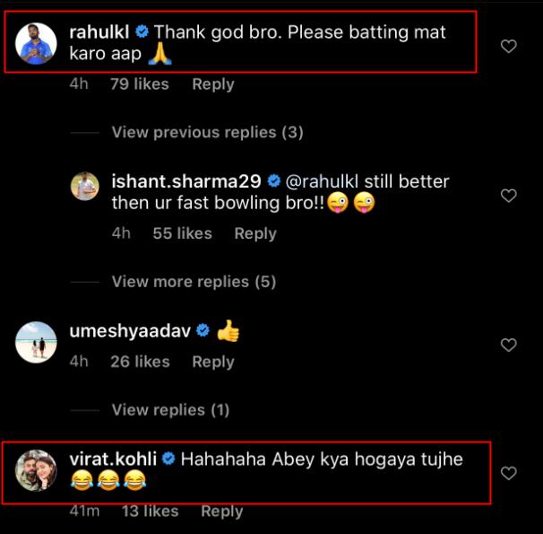 KL Rahul and Virat Kohli's comment