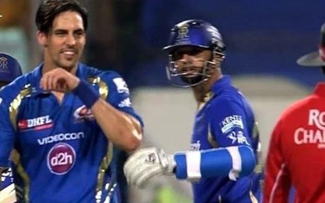 Mitchell Johnson and Rahul Dravid