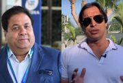 Rajeev Shukla and Shoaib Akhtar
