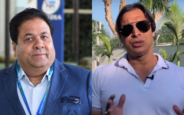 Rajeev Shukla and Shoaib Akhtar