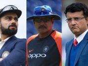 Virat Kohli, Ravi Shastri and Sourav Ganguly