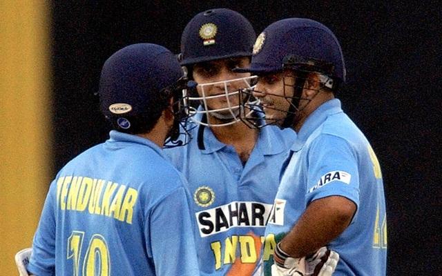 Virender Sehwag, Sachin Tendulkar and Sourav Ganguly