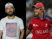 Yuvraj Singh and Stuart Broad