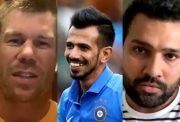 David Warner, Yuzvendra Chahal and Rohit Sharma