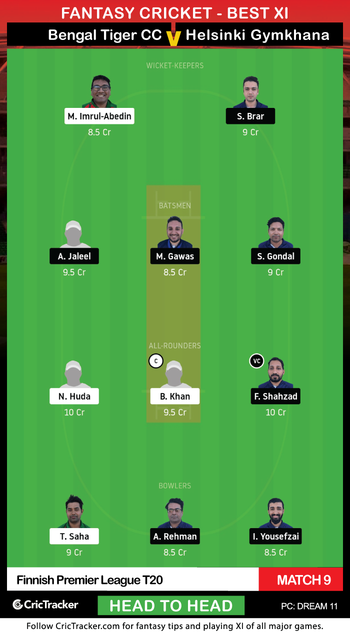 Finnish-Premier-League-T20-Match-9,-Bengal-Tiger-CC-vs-GYM-Helsinki-Gymkhana-(Head-to-Head)Dream11