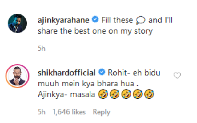 Shikhar Dhawan's comment