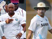 Tino Best and Sachin Tendulkar