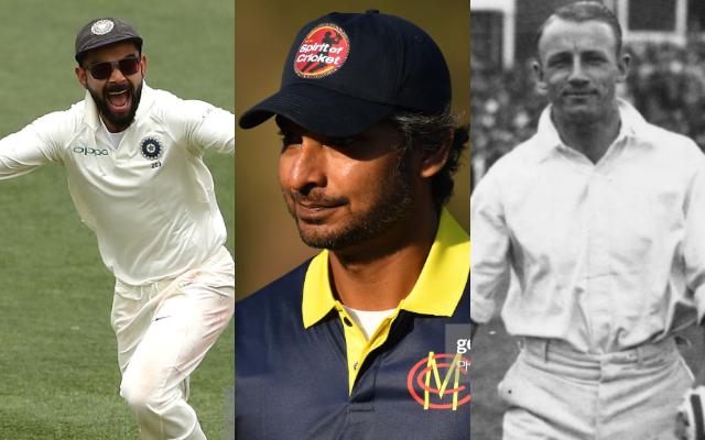 Virat Kohli, Kumar Sangakkara and Don Bradman
