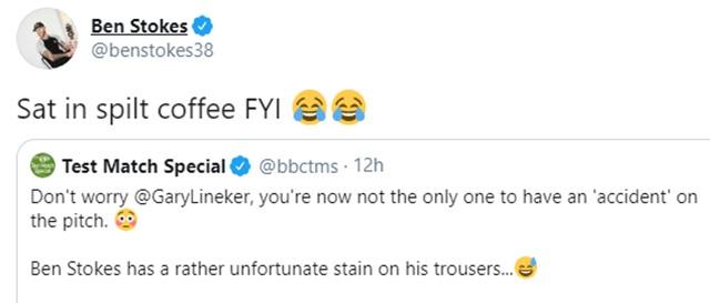 Ben Stokes' tweet