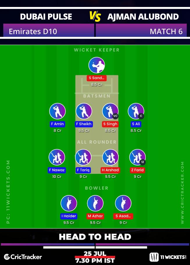 Emirates-D10-League-2020-Match-6,-Dubai-Pulse-Secure-vs-Ajman-Alubond-–-11Wickets-Fantasy-H2H