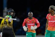 Asif Ali of Jamaica Tallawahs express disappointment of being dismissed by Keemo Paul.