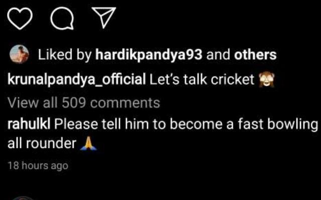 KL Rahul's comment