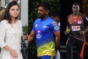 Sakshi Dhoni, MS Dhoni and Dwayne Bravo