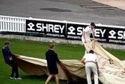 Somerset players helping groundstaff
