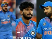 Virat Kohli, Khaleel Ahmed and Rohit Sharma