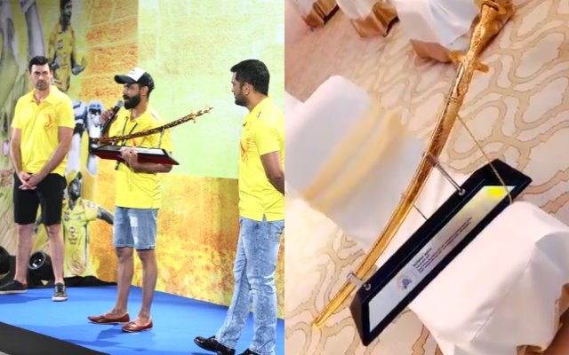 Ravindra jadeja with Golden sword