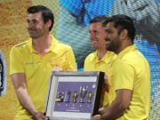 Stephen Fleming, Mike Hussey and MS Dhoni