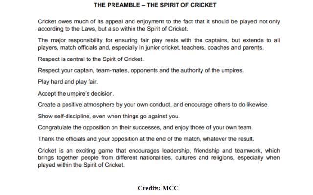 The Preamble - Spirit of cricket