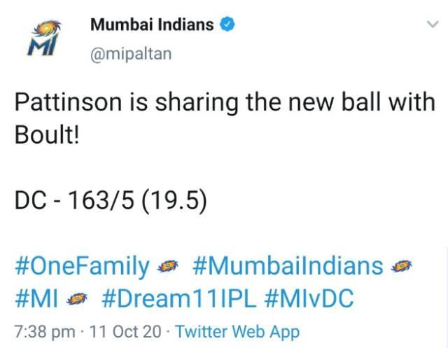 Mumbai Indians' tweet