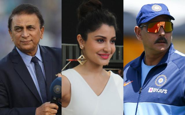 Sunil Gavaskar, Anushka Sharma and Ravi Shastri