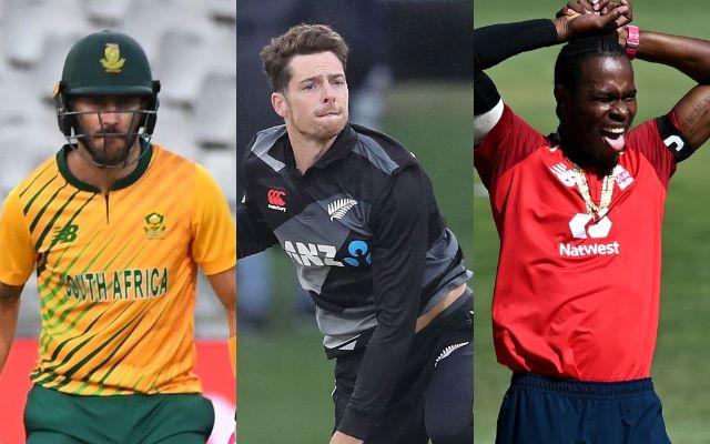 Faf du Plessis, Mitchell Santner and Jofra Archer