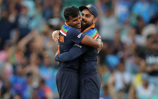 T Natarajan and Virat Kohli