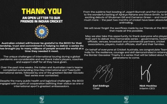 Cricket Australia's open letter