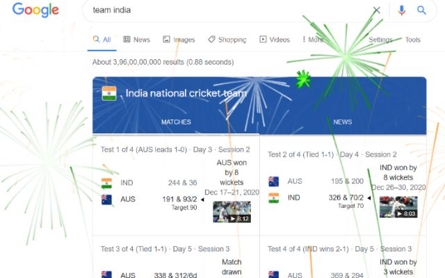 Google Fireworks for Team India