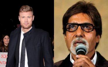 Andrew Flintoff and Amitabh Bachchan
