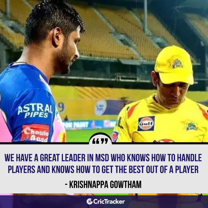 CricTracker Exclusive - MS Dhoni knows how to manage players and get the most out of them: Krishnappa Gowtham