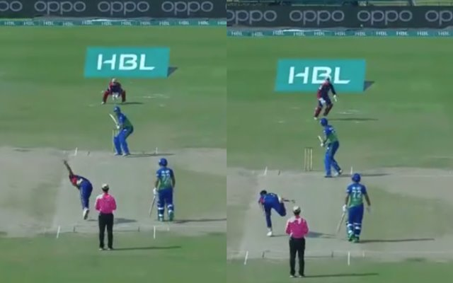 PSL 2021: Arshad Iqbal bowls the wildest full toss ever to Shoaib Maqsood