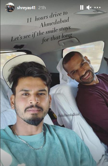 Shreyas Iyer's Instagram story