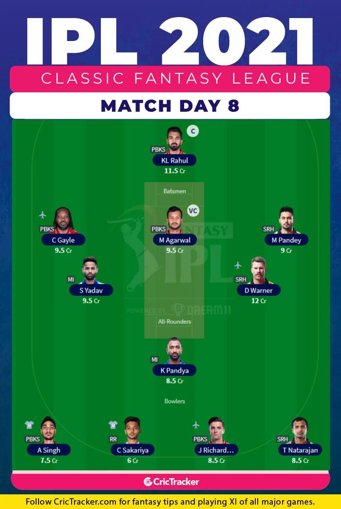 PBKS vs CSK IPL Fantasy League Tips Season Long Day 8