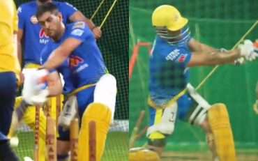 MS Dhoni practicing in the nets