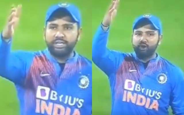 Rohit Sharma abusing umpire