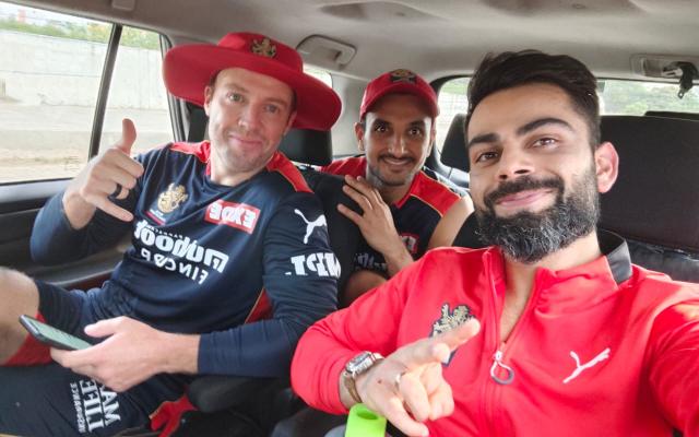Virat Kohli, AB de Villiers, and Harshal Patel