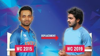 Indian players in 2015 CWC and their replacement in CWC 2019