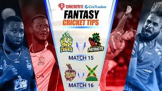 CPL 2020 Dream11 Tips | Match 15 - SLZ vs SKNP Dream11 | Match 16 - GAW vs TKR Fantasy | CricTracker