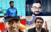 Bhuvneshwar Kumar, Virat Kohli, Rahul Dravid, and Sourav Ganguly